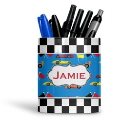 Checkers & Racecars Ceramic Pen Holder