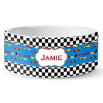 Checkers & Racecars Ceramic Dog Bowl (Personalized)