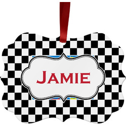 Checkers & Racecars Metal Frame Ornament - Double Sided w/ Name or Text