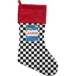 Checkers & Racecars Christmas Stocking (Personalized)