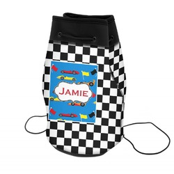 Checkers & Racecars Neoprene Drawstring Backpack (Personalized)