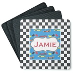 Checkers & Racecars 4 Square Coasters - Rubber Backed (Personalized)