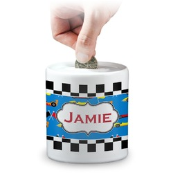 Checkers & Racecars Coin Bank (Personalized)