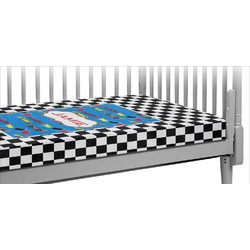 Checkers & Racecars Crib Fitted Sheet (Personalized)