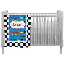 Checkers & Racecars Crib Comforter / Quilt (Personalized)