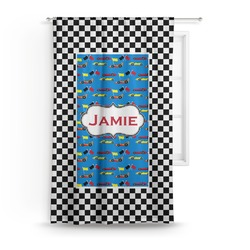 """Checkers & Racecars Curtain - 50""""x84"""" Panel (Personalized)"""