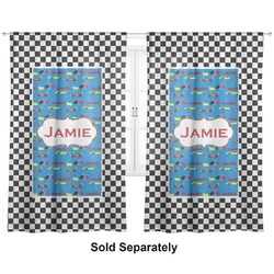 "Checkers & Racecars Curtains - 40""x84"" Panels - Unlined (2 Panels Per Set) (Personalized)"