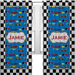 Checkers & Racecars Curtains (2 Panels Per Set) (Personalized)