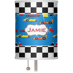 """Checkers & Racecars 7"""" Drum Lamp Shade (Personalized)"""