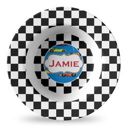 Checkers & Racecars Plastic Bowl - Microwave Safe - Composite Polymer (Personalized)