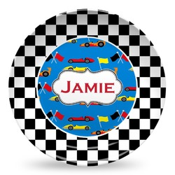 Checkers & Racecars Microwave Safe Plastic Plate - Composite Polymer (Personalized)