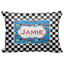 "Checkers & Racecars Decorative Baby Pillowcase - 16""x12"" (Personalized)"