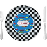 "Checkers & Racecars Glass Lunch / Dinner Plates 10"" - Single or Set (Personalized)"