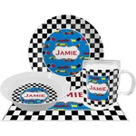 Checkers & Racecars Dinner Set - 4 Pc (Personalized)