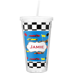 Checkers & Racecars Double Wall Tumbler with Straw (Personalized)
