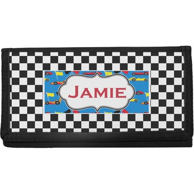 Checkers & Racecars Canvas Checkbook Cover (Personalized)