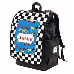 Checkers & Racecars Backpack w/ Front Flap  (Personalized)