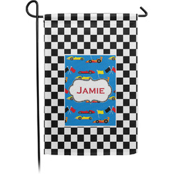 Checkers & Racecars Garden Flag - Single or Double Sided (Personalized)