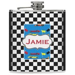 Checkers & Racecars Genuine Leather Flask (Personalized)