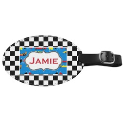 Checkers & Racecars Genuine Leather Oval Luggage Tag (Personalized)