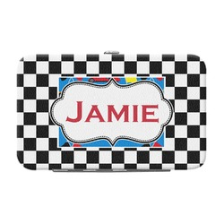 Checkers & Racecars Genuine Leather Small Framed Wallet (Personalized)