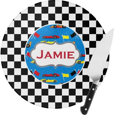 Checkers & Racecars Round Glass Cutting Board (Personalized)