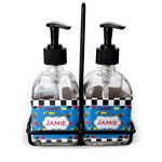 Checkers & Racecars Soap & Lotion Dispenser Set (Glass) (Personalized)