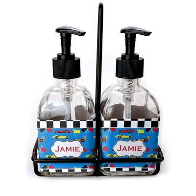 Checkers & Racecars Soap/Lotion Dispensers (Glass) (Personalized)