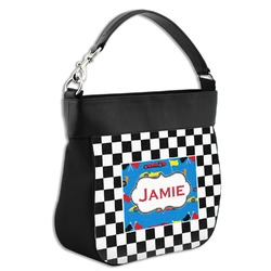 Checkers & Racecars Hobo Purse w/ Genuine Leather Trim w/ Name or Text