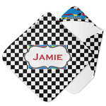 Checkers & Racecars Hooded Baby Towel (Personalized)