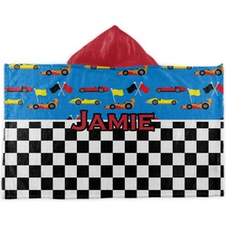 Checkers & Racecars Kids Hooded Towel (Personalized)