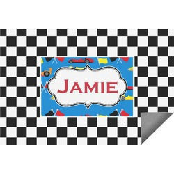 Checkers & Racecars Indoor / Outdoor Rug - 6'x9' (Personalized)