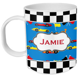Checkers & Racecars Plastic Kids Mug (Personalized)