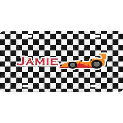 Checkers & Racecars Front License Plate (Personalized)