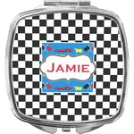 Checkers & Racecars Compact Makeup Mirror (Personalized)