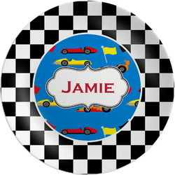 "Checkers & Racecars Melamine Plate - 8"" (Personalized)"
