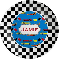 Checkers & Racecars Melamine Plate (Personalized)