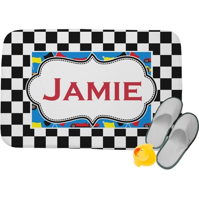 "Checkers & Racecars Memory Foam Bath Mat - 24""x17"" (Personalized)"