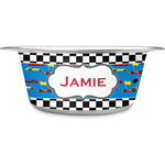 Checkers & Racecars Stainless Steel Pet Bowl (Personalized)