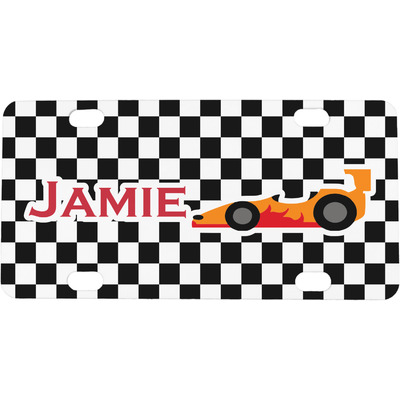 Checkers & Racecars Mini / Bicycle License Plate (4 Holes) (Personalized)