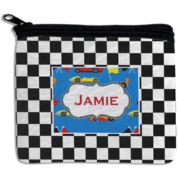 Checkers & Racecars Rectangular Coin Purse (Personalized)