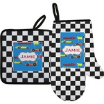 Checkers & Racecars Oven Mitt & Pot Holder (Personalized)