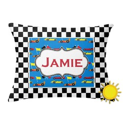 Checkers & Racecars Outdoor Throw Pillow (Rectangular) (Personalized)