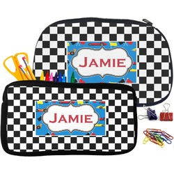 Checkers & Racecars Pencil / School Supplies Bag (Personalized)