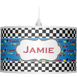 Checkers & Racecars Drum Pendant Lamp (Personalized)