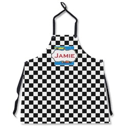 Checkers & Racecars Apron Without Pockets w/ Name or Text