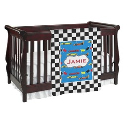 Checkers & Racecars Baby Blanket (Personalized)