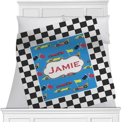 "Checkers & Racecars Fleece Blanket - Twin / Full - 80""x60"" - Single Sided (Personalized)"