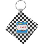 Checkers & Racecars Diamond Key Chain (Personalized)