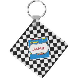 Checkers & Racecars Diamond Plastic Keychain w/ Name or Text